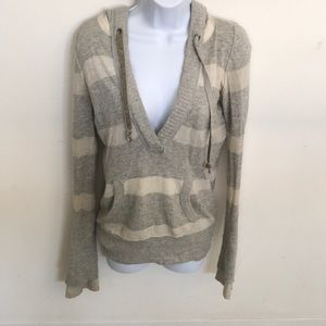 Abercrombie & Fitch White and Gray stripe pullover
